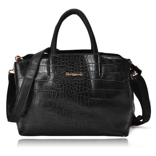 Handbag With Crocodile Grain | Black