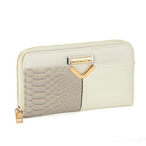Snakeskin Patchwork Zip Purse | Beige