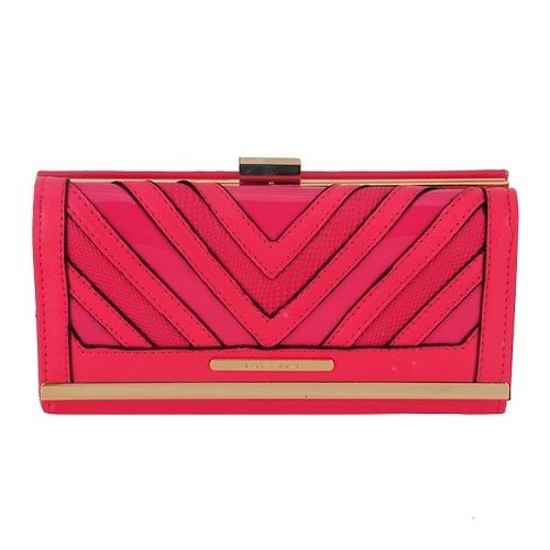 Snakeskin Patchwork  Women Purse | Fuchsia