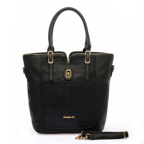 Snakeskin Handbag with Top Zipper D | Black