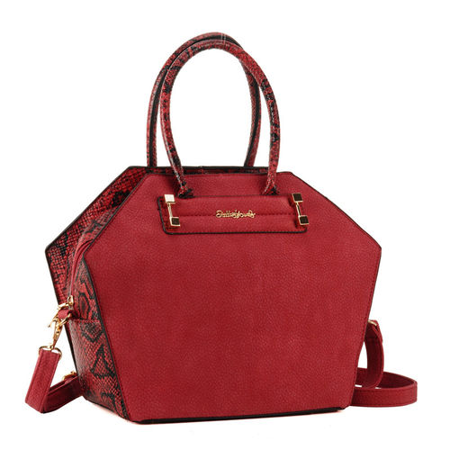 Fashion Trendy Look Snakeskin Handbag - Red