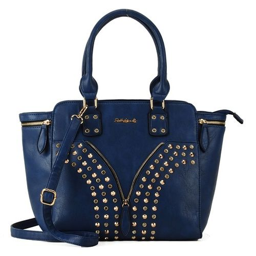 Rivets Rhinestone Boutique Handbag - Blue