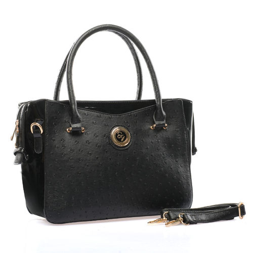 Ostrich Leather Handbag | Black