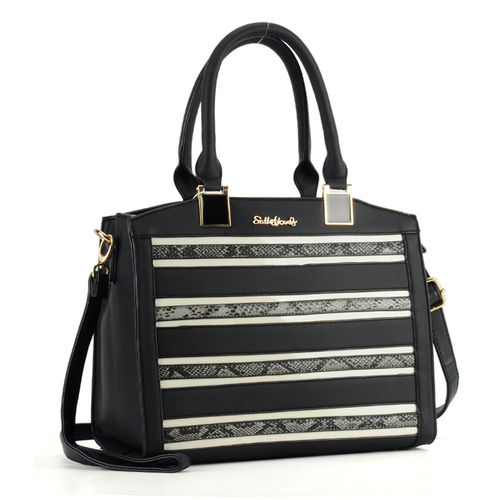 Snakeskin Stripes Handbags | Black