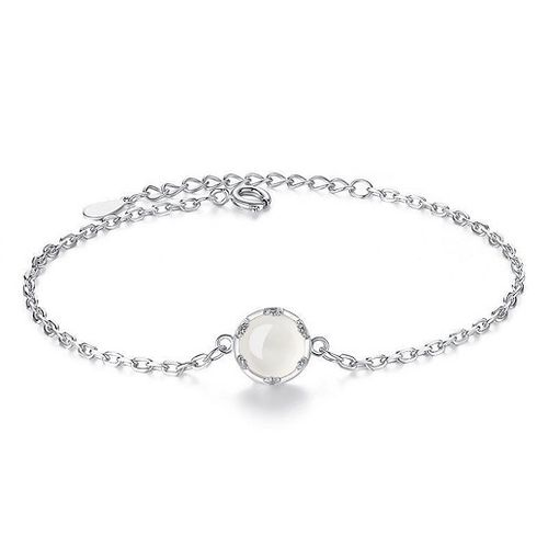 925 Sterling Silver | White Round Opal Chain
